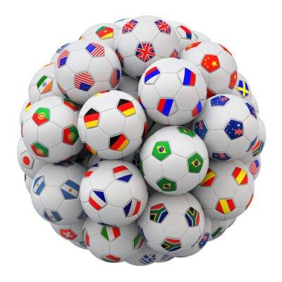 Naklejka Piłka nożna (Piłka nożna) zespołów kulek z flagami Narodów samodzielnie na białym tle