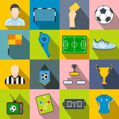 Naklejka Piłkarskie płaskie ikony ustaw