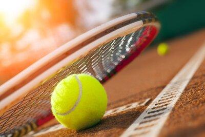 Naklejka piłki tenisowe na korcie tenisowym