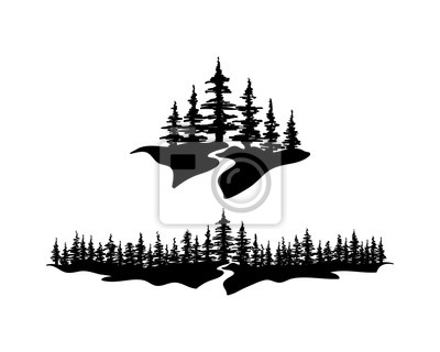 Naklejka Pine Forests with River Illustration Hand Drawing Symbol Logo Vector