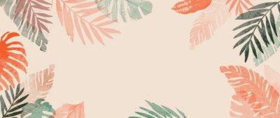 Naklejka Pink summer tropical background vector. Palm leaves, monstera leaf, Botanical background design for wall framed prints, wall art, invitation, canvas prints, poster, home decor, cover, wallpaper.