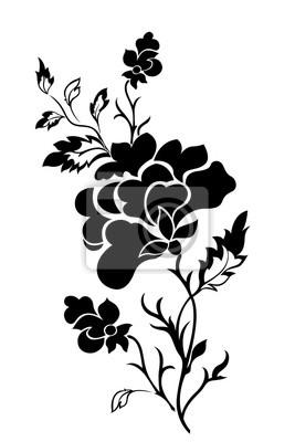 Pionowy Wzór Kwiatowy Róża Tatuaż Naklejki Redro