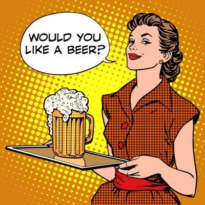 Naklejka Piwo Kelnerka na tacy