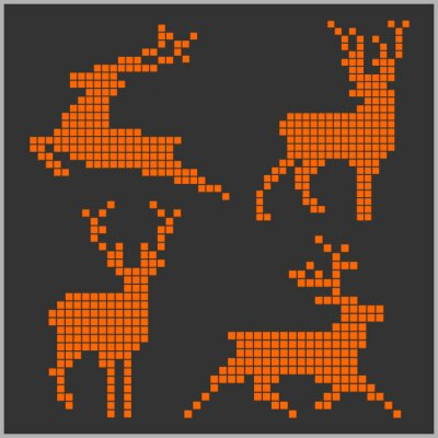 Naklejka Pixel sylwetki jeleni