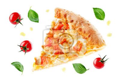 Naklejka Pizza z serem, kurczakiem i świeżymi plasterkami pomidorów