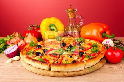 Naklejka pizzy i warzyw na czerwonym tle