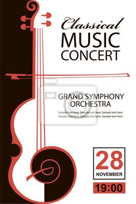 Naklejka Plakat koncertu muzyki klasycznej z wizerunkiem skrzypiec
