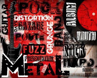 Naklejka Plakat muzyki Rock on czerwony mur