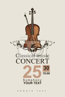 Naklejka plakat na koncert muzyki klasycznej ze skrzypcami