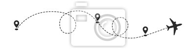 Naklejka Plane path with location pins vector illustration. Path to location by plane, tourism way, route flight