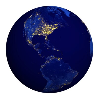 Naklejka Planet earth at night. North and South America.