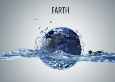 Naklejka Planety Układu Słonecznego spada do wody z powitalny. Elementy