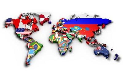 Naklejka Planisfero mondo 3d con bandiere w Rilievo