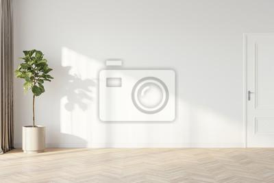 Naklejka Plant against a white wall mockup. White wall mockup with brown curtain, plant and wood floor. 3D illustration.
