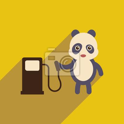 Naklejka płaska ikona z długim cieniem panda kreskówki
