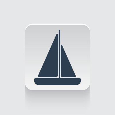 Naklejka Płaski Czarna ikona Żaglówka na okrągłym placu przycisk internetowej