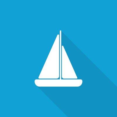 Naklejka Płaski ikona Kuter z długim cieniem na niebieskim backround