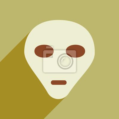 Naklejka Płaski ikona z długim cieniem obcej głowy