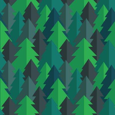 Naklejka Płaski las sosnowy szwu wektor wzór w niebieskich kolorach zielonym i turkusowym
