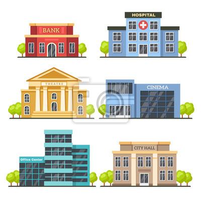 Naklejka Płaskie budynki miejskie. Współczesne centrum biurowe, fasada szpitala i budynek ratusza. Ilustracja wektorowa nowoczesny teatr i kino