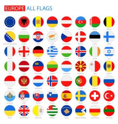 Naklejka Płaskie Okrągłe Flagi Europy - Pełna Kolekcja wektorowych. Wektor zestaw rundy Flagi Europy.