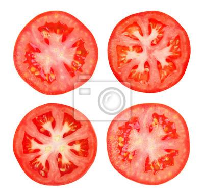 Naklejka Plasterek pomidora samodzielnie na białym tle