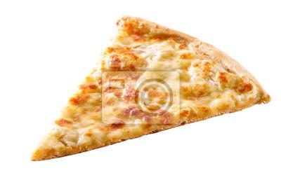 Naklejka plasterek sera do pizzy zbliżenie na białym tle
