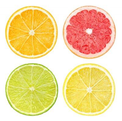 Naklejka Plasterki owoców cytrusowych samodzielnie na białym tle