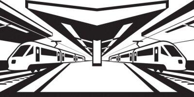 Naklejka Platforma dworca z pociągami - ilustracji wektorowych