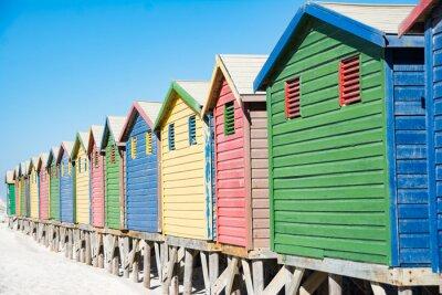 Naklejka Plaża kolorowe domy w Cape Town