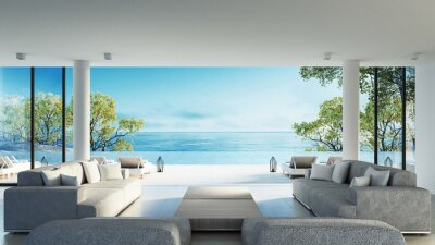 Naklejka Plaża żyjących na Widok na morze / renderowania 3D