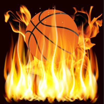 Naklejka płomienie i koszykówka
