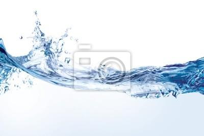 Naklejka Plusk wody na białym tle. Splash wody na powierzchni.