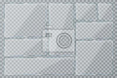 Naklejka Płyta szklana ustawiona na przezroczystym tle. Wyczyść szklaną wizytówkę. Realistyczne okno kolekcji mockup