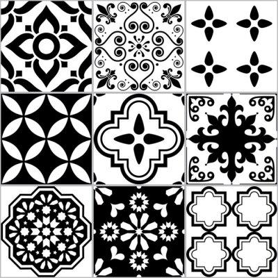 Naklejka Płytka wektor bez szwu wzór Azlejos, hiszpańska lub portugalska mozaika w czarno-białych, abstrakcyjnych i kwiatowych wzorów