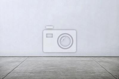 Naklejka Płytki marmurowe podłogi z białą ścianą