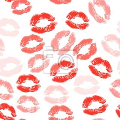 Naklejka Pocałunek bezszwowe tło, warg