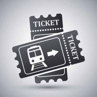 Naklejka Pociąg bilety ikony, Grafika wektorowa