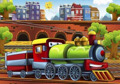 Naklejka Pociąg Cartoon parowa - stacja kolejowa - ilustracja