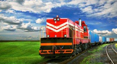 Naklejka Pociąg towarowy z miejsca na tekst