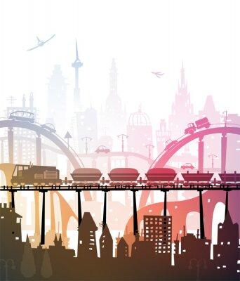 Naklejka Pociąg uruchomiony przez miasto, ilustracja przemysłowych