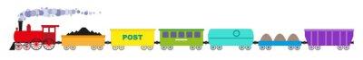 Naklejka Pociąg z siedmiu kolorowych samochodów i lokomotyw