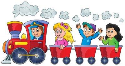 Naklejka Pociąg z szczęśliwych dzieci
