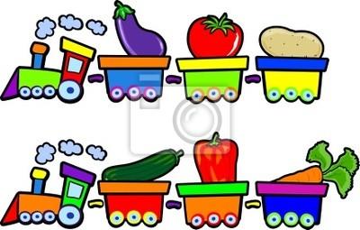 Naklejka Pociąg z warzywami na wymiar • dziecko, dzieciństwo ...