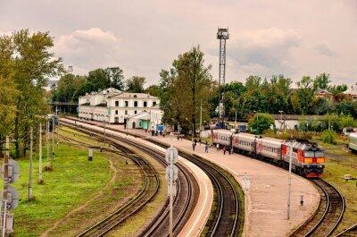 Naklejka Pociągi osobowe są w stacji w Pskowie.