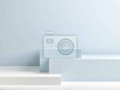 Naklejka Podium w abstrakcyjnym składzie niebieski, 3d render, 3d ilustracji