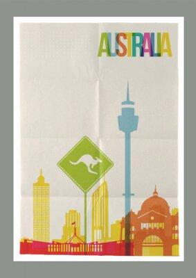Naklejka Podróż Australia skyline vintageposter orientacyjnych