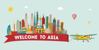 Naklejka Podróż Azja i turystyki tła. ilustracji wektorowych