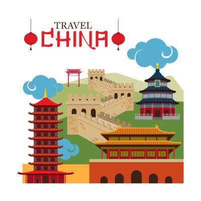 Naklejka Podróż Chiny Landmark, przeznaczenia, atrakcji, Tradycyjna kultura