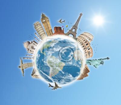 Naklejka Podróż koncepcję World Monuments 5